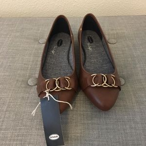 NWT Dr. Scholl's Brown and Gold Flats
